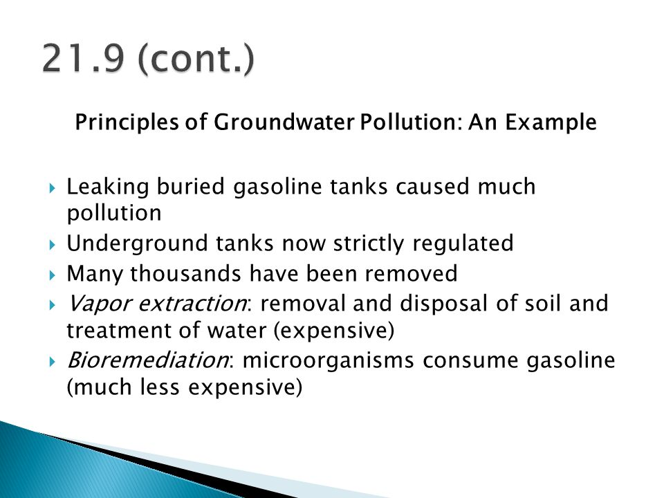 Principles of Groundwater Pollution: An Example