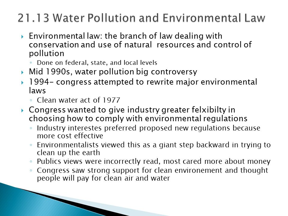 21.13 Water Pollution and Environmental Law