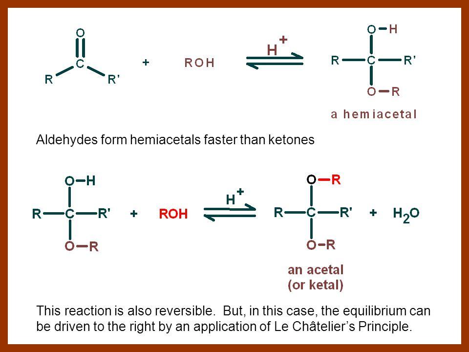 Aldehydes form hemiacetals faster than ketones