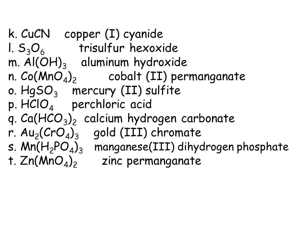 k. CuCN copper (I) cyanide