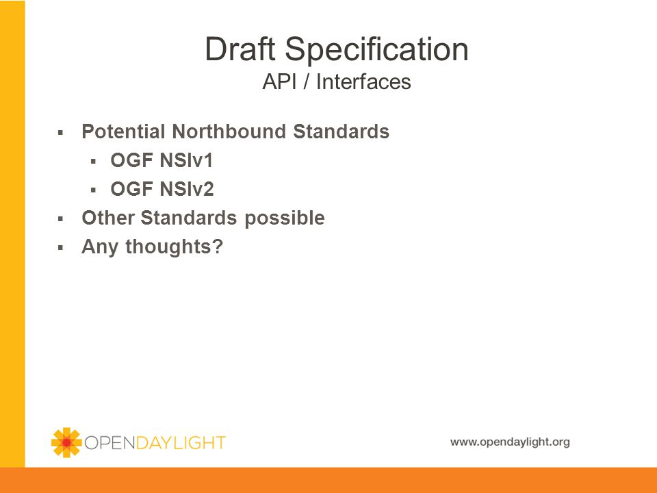 Draft Specification API / Interfaces