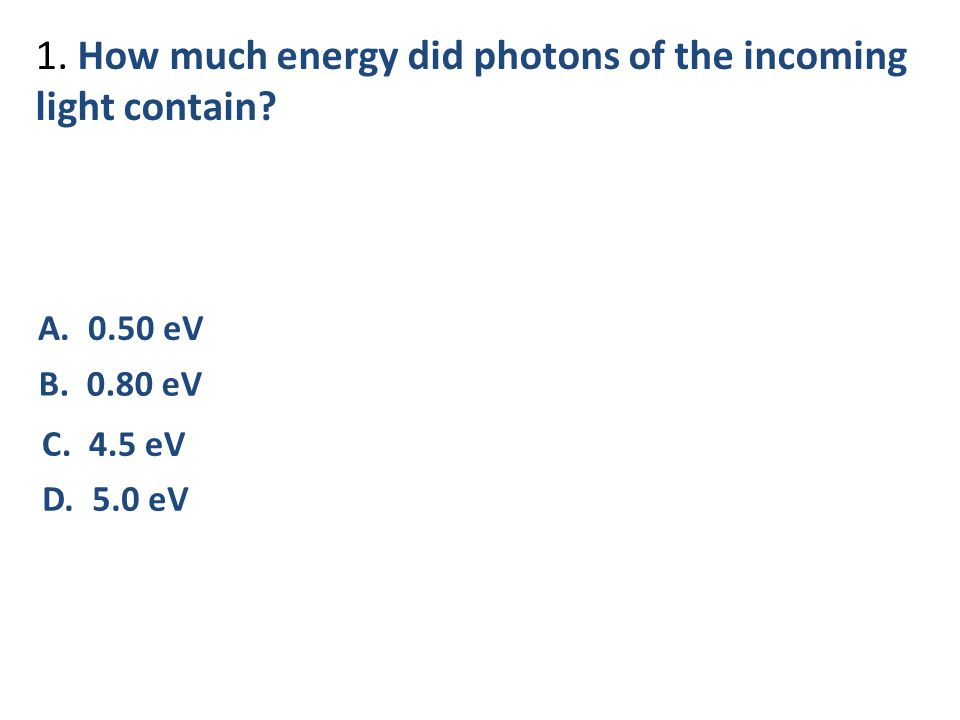 1. How much energy did photons of the incoming light contain