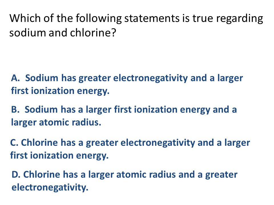 Which of the following statements is true regarding sodium and chlorine