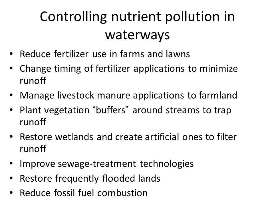 Controlling nutrient pollution in waterways