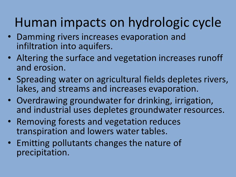 Human impacts on hydrologic cycle