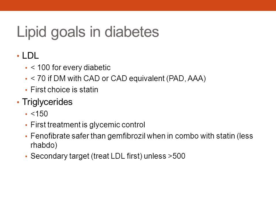 Lipid goals in diabetes