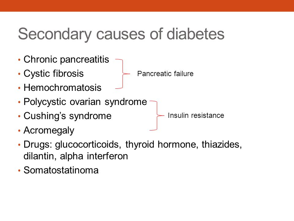 Secondary causes of diabetes