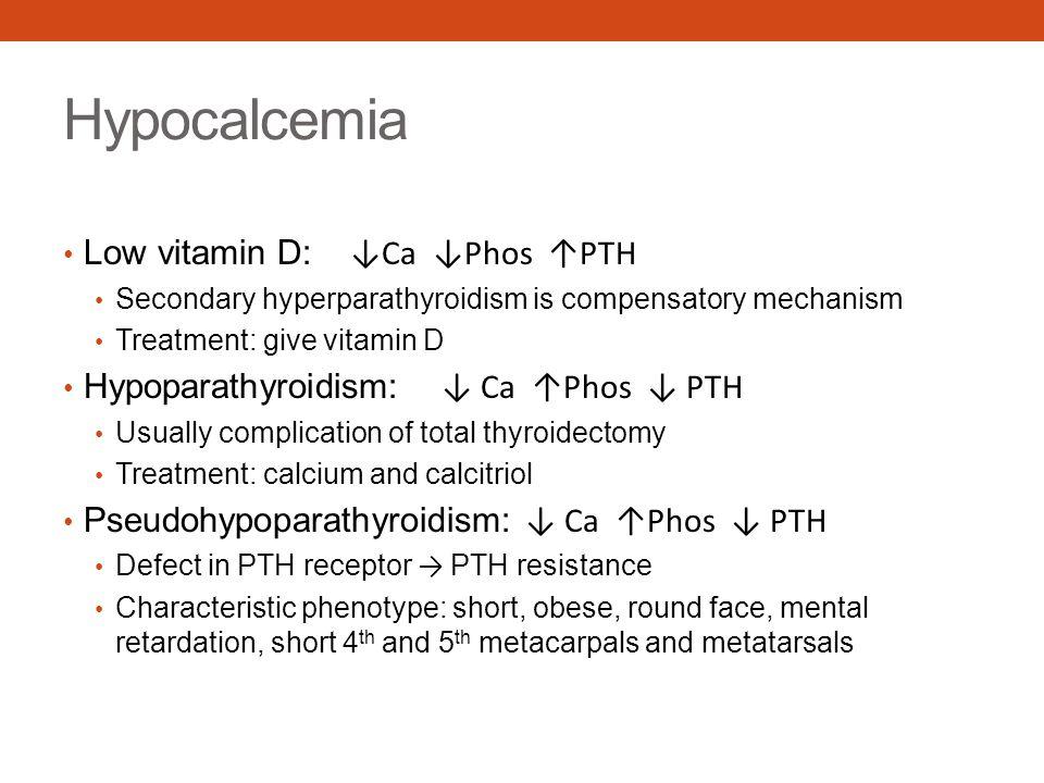 Hypocalcemia Low vitamin D: ↓Ca ↓Phos ↑PTH