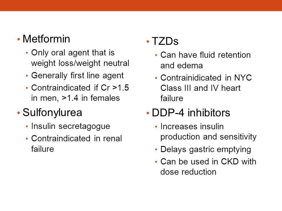 Metformin TZDs Sulfonylurea DDP-4 inhibitors