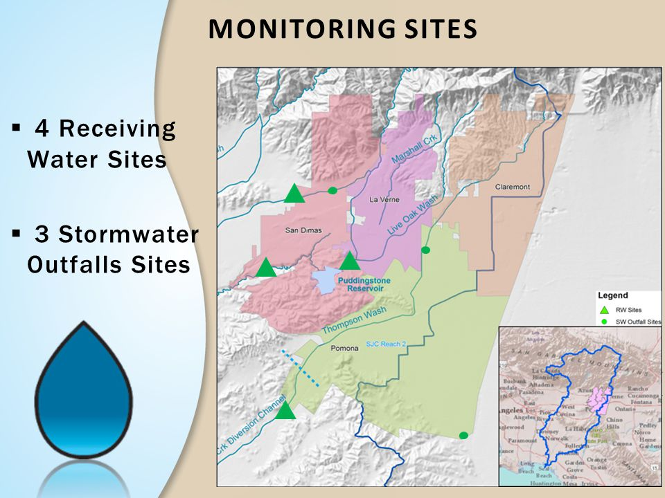 Monitoring Sites 4 Receiving Water Sites 3 Stormwater Outfalls Sites