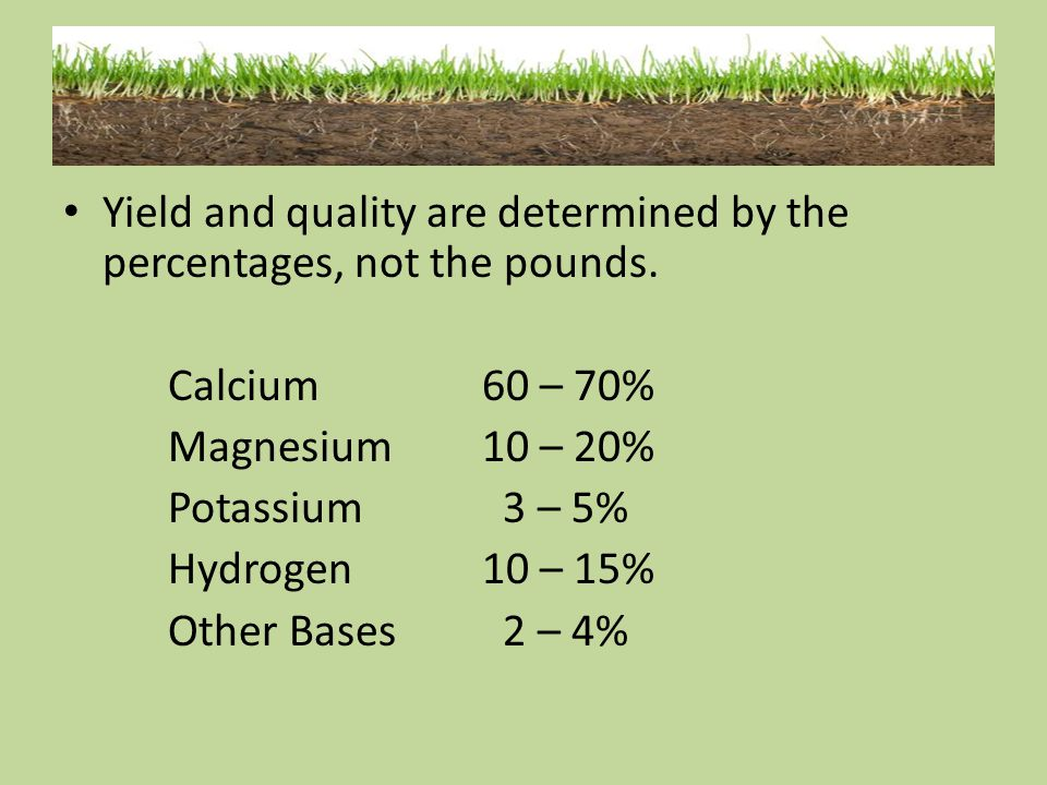 Yield and quality are determined by the percentages, not the pounds.