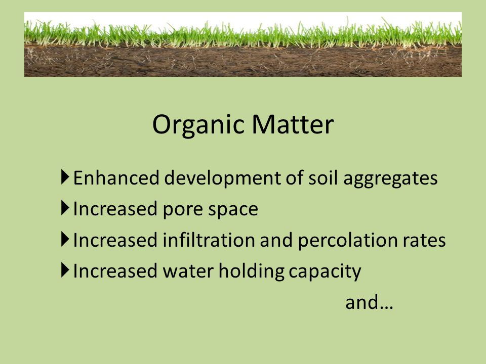 Organic Matter Enhanced development of soil aggregates