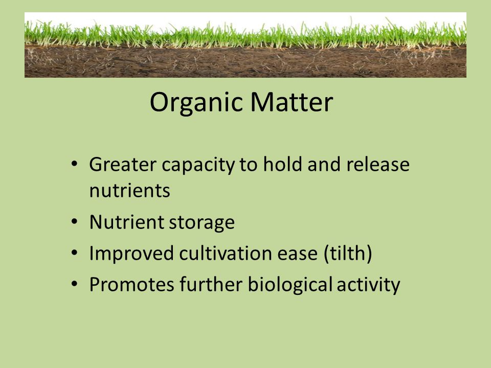 Organic Matter Greater capacity to hold and release nutrients
