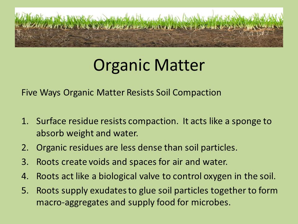 Organic Matter Five Ways Organic Matter Resists Soil Compaction