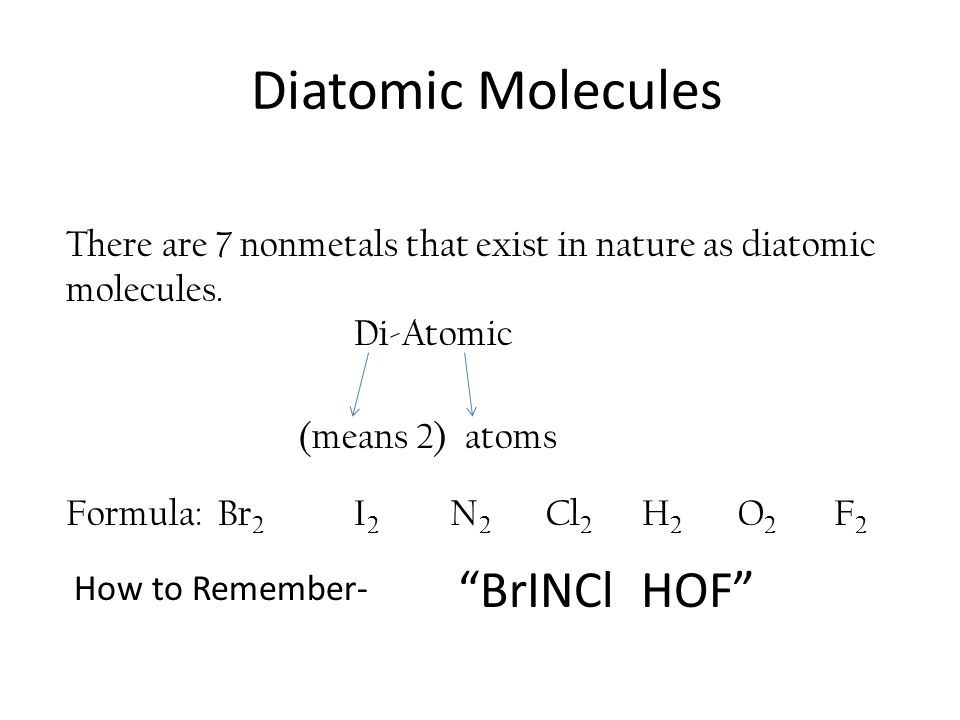 Diatomic Molecules BrINCl HOF