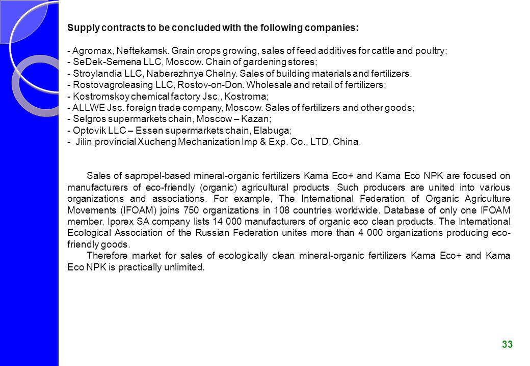 Supply contracts to be concluded with the following companies: - Agromax, Neftekamsk.