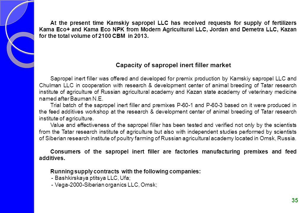 Capacity of sapropel inert filler market