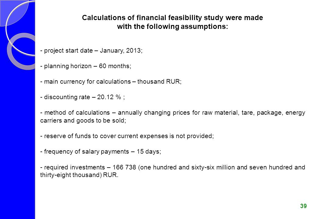 Calculations of financial feasibility study were made