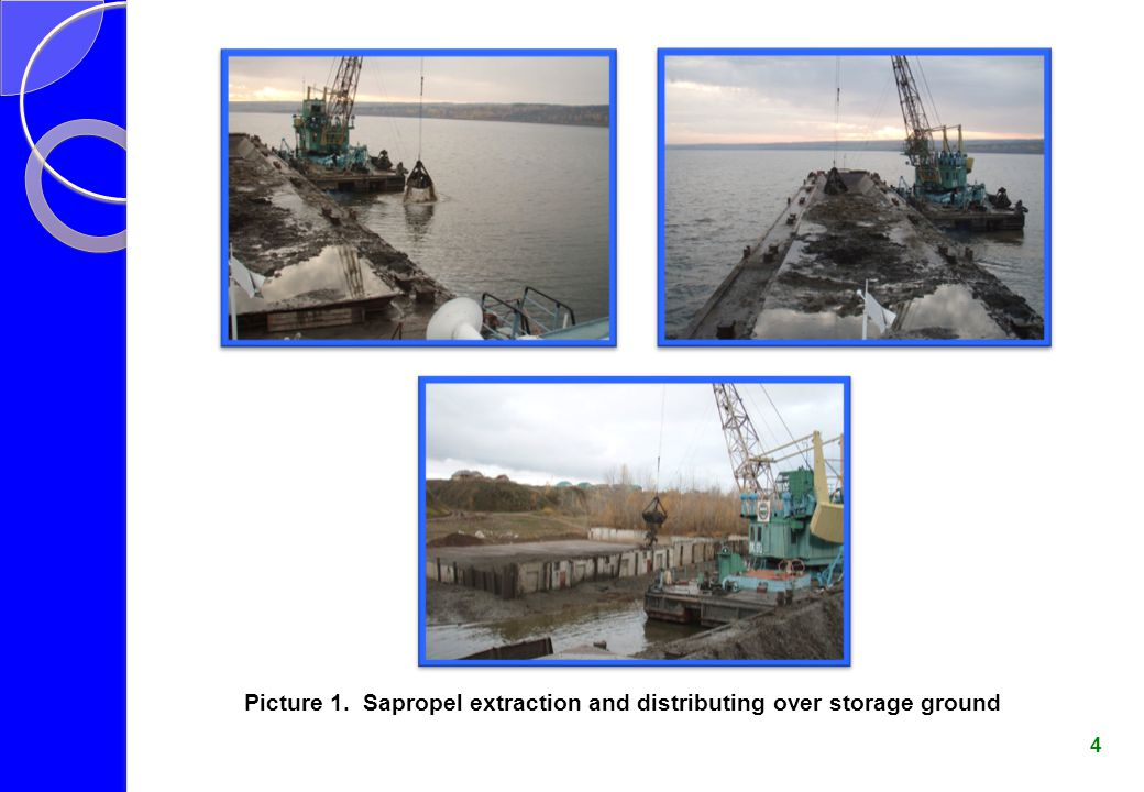 Picture 1. Sapropel extraction and distributing over storage ground
