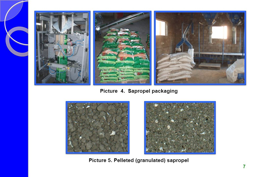 Picture 4. Sapropel packaging Picture 5. Pelleted (granulated) sapropel