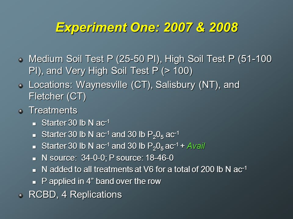 Experiment One: 2007 & 2008 Medium Soil Test P (25-50 PI), High Soil Test P (51-100 PI), and Very High Soil Test P (> 100)
