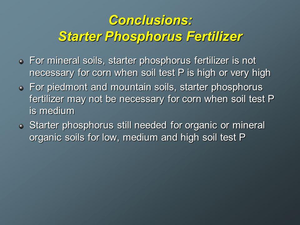 Conclusions: Starter Phosphorus Fertilizer