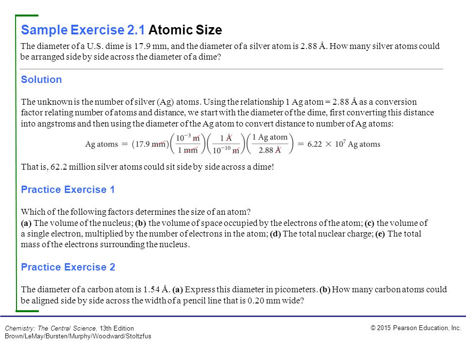 Sample Exercise 2.1 Atomic Size