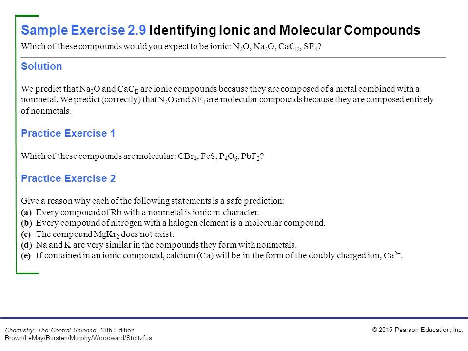 Sample Exercise 2.9 Identifying Ionic and Molecular Compounds