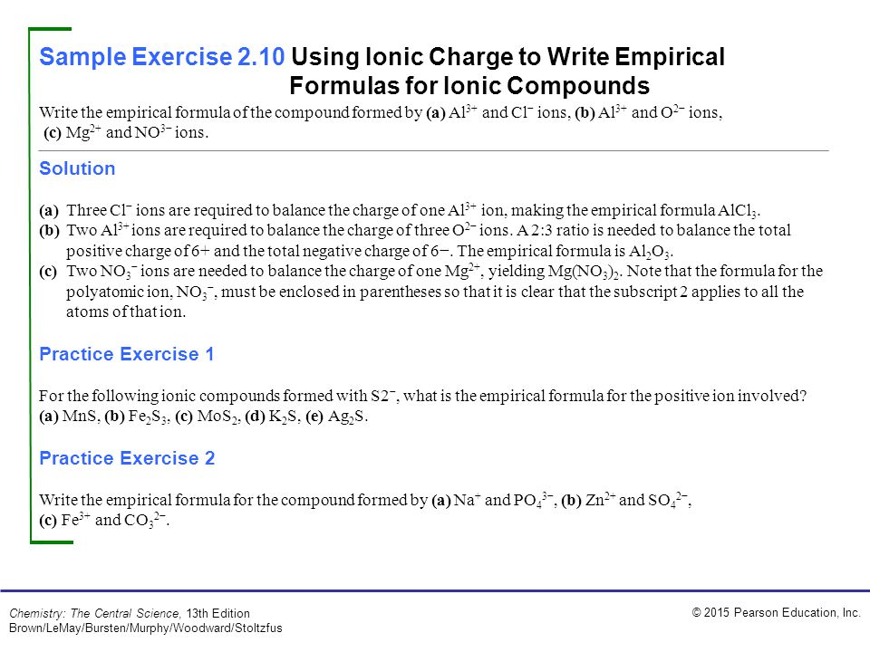 Sample Exercise 2.10 Using Ionic Charge to Write Empirical Formulas for Ionic Compounds