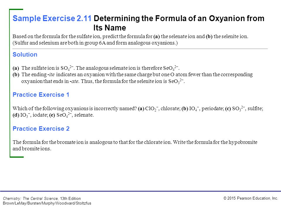 Sample Exercise 2.11 Determining the Formula of an Oxyanion from Its Name