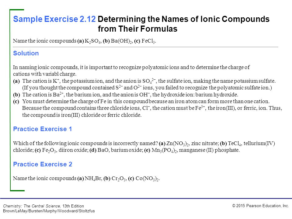 Sample Exercise 2.12 Determining the Names of Ionic Compounds from Their Formulas