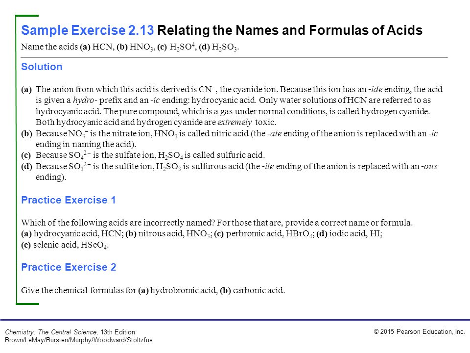Sample Exercise 2.13 Relating the Names and Formulas of Acids