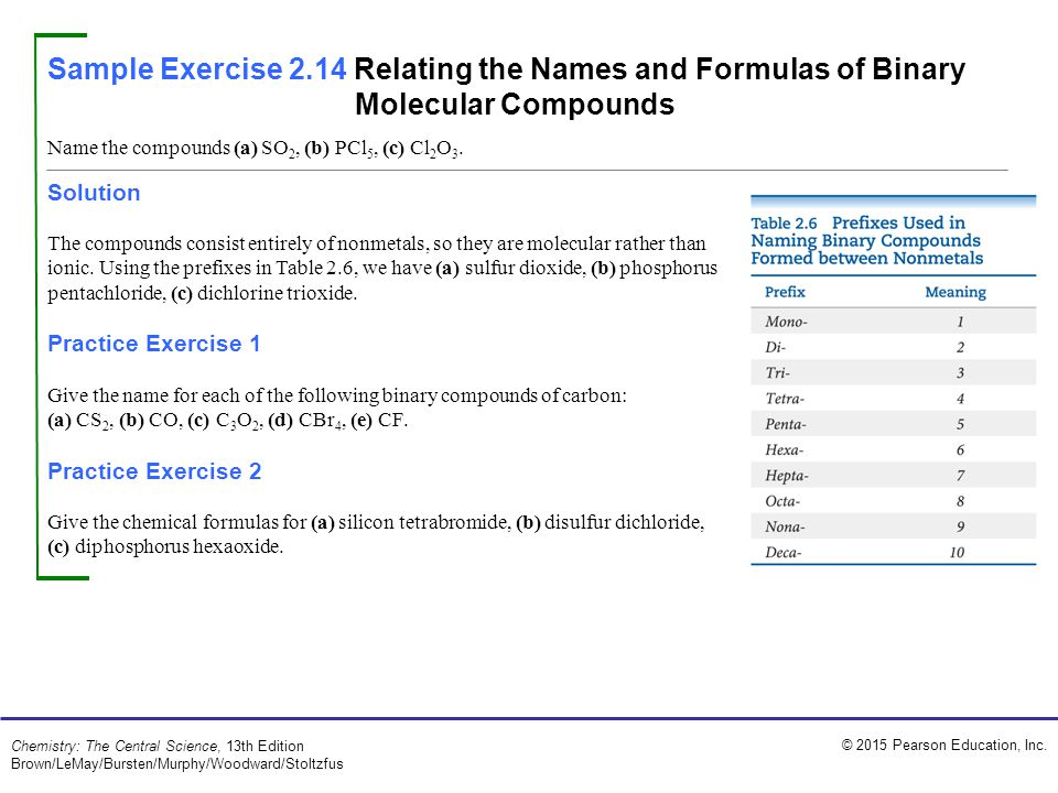 Sample Exercise 2.14 Relating the Names and Formulas of Binary Molecular Compounds