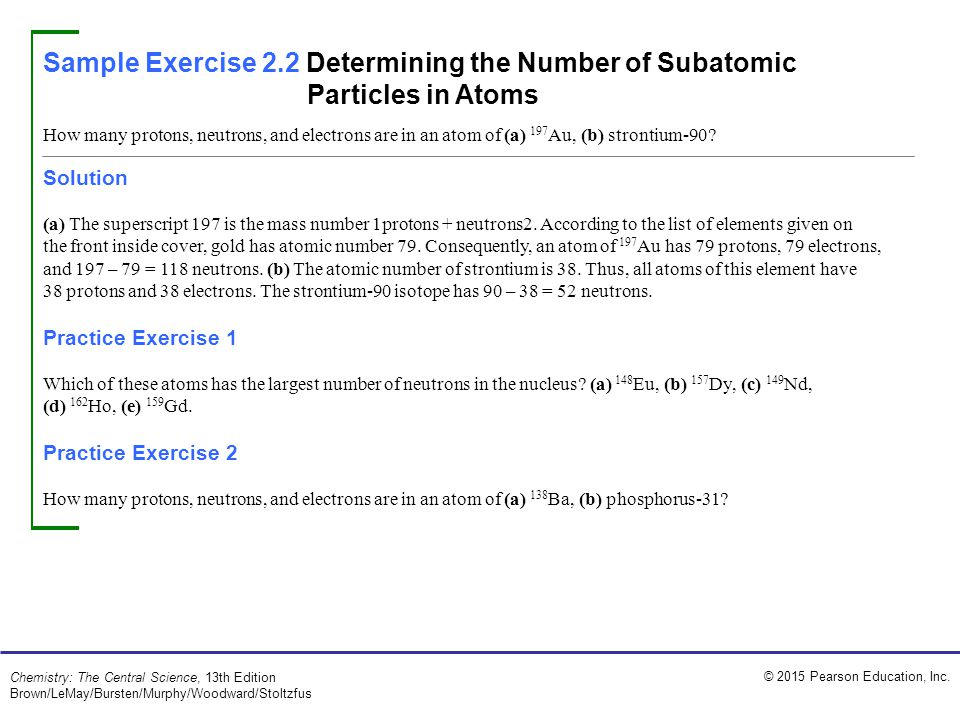 Sample Exercise 2.2 Determining the Number of Subatomic Particles in Atoms