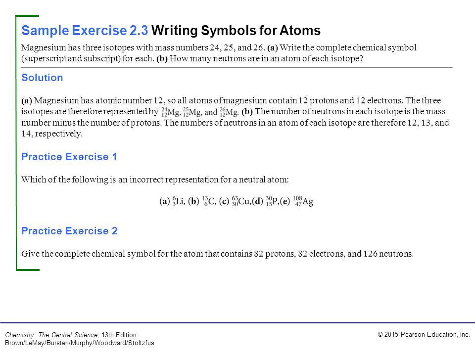 Sample Exercise 2.3 Writing Symbols for Atoms
