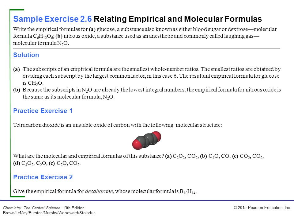 Sample Exercise 2.6 Relating Empirical and Molecular Formulas