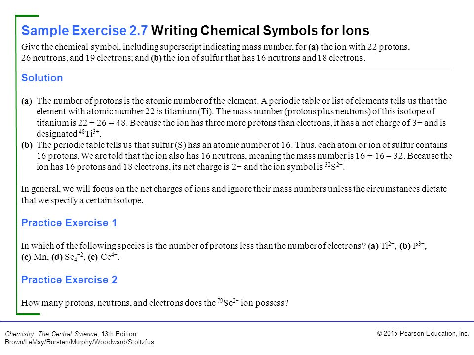 Sample Exercise 2.7 Writing Chemical Symbols for Ions
