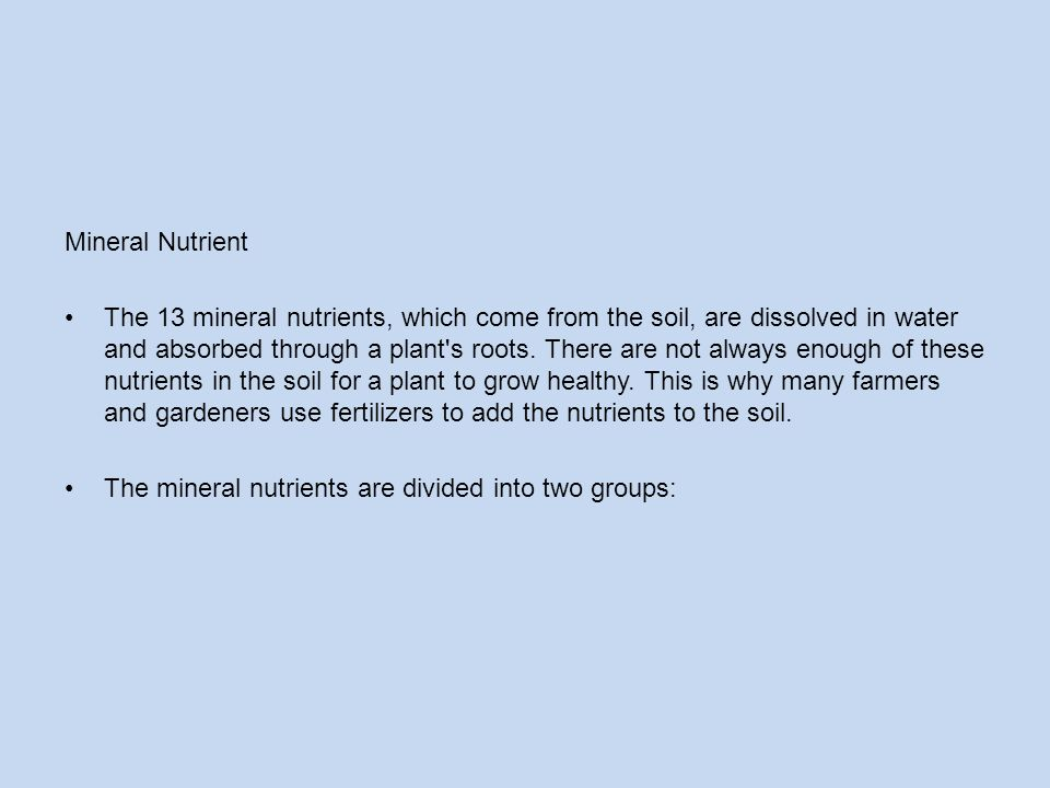Mineral Nutrient