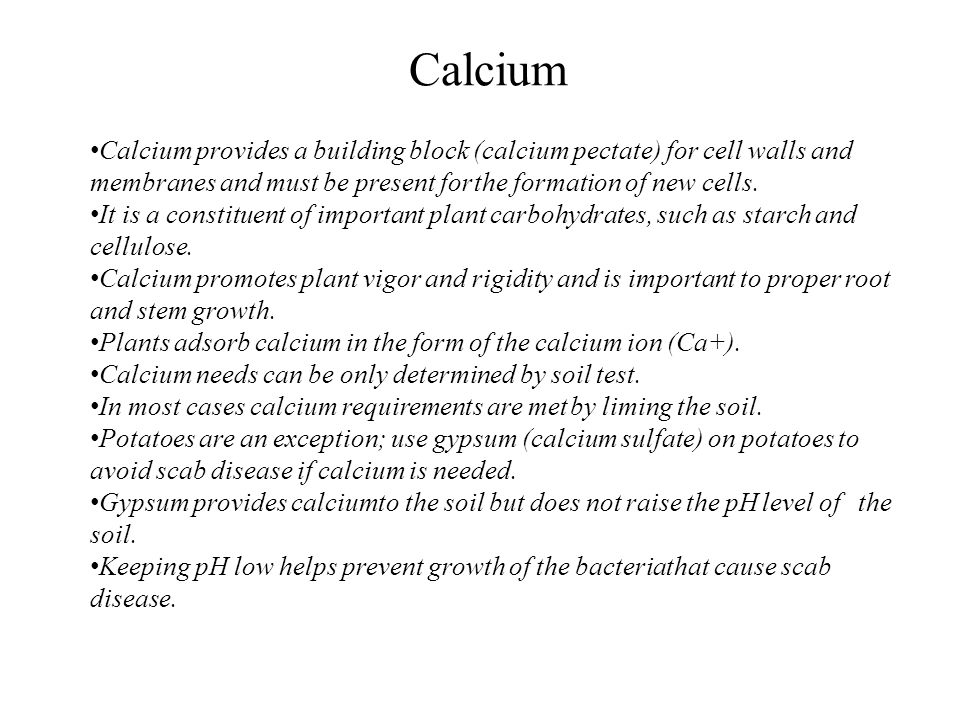 Calcium Calcium provides a building block (calcium pectate) for cell walls and membranes and must be present for the formation of new cells.