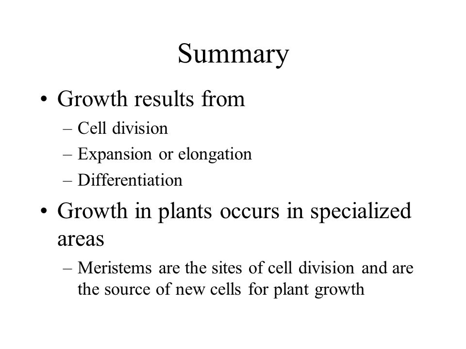 Summary Growth results from