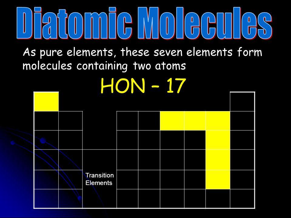 HON – 17 Diatomic Molecules