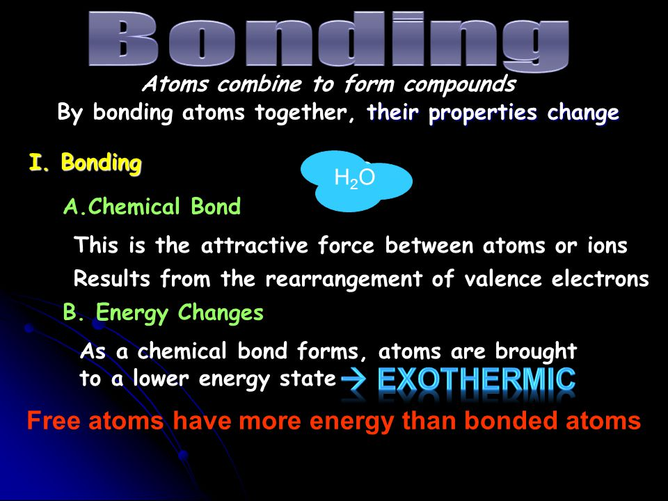 Free atoms have more energy than bonded atoms