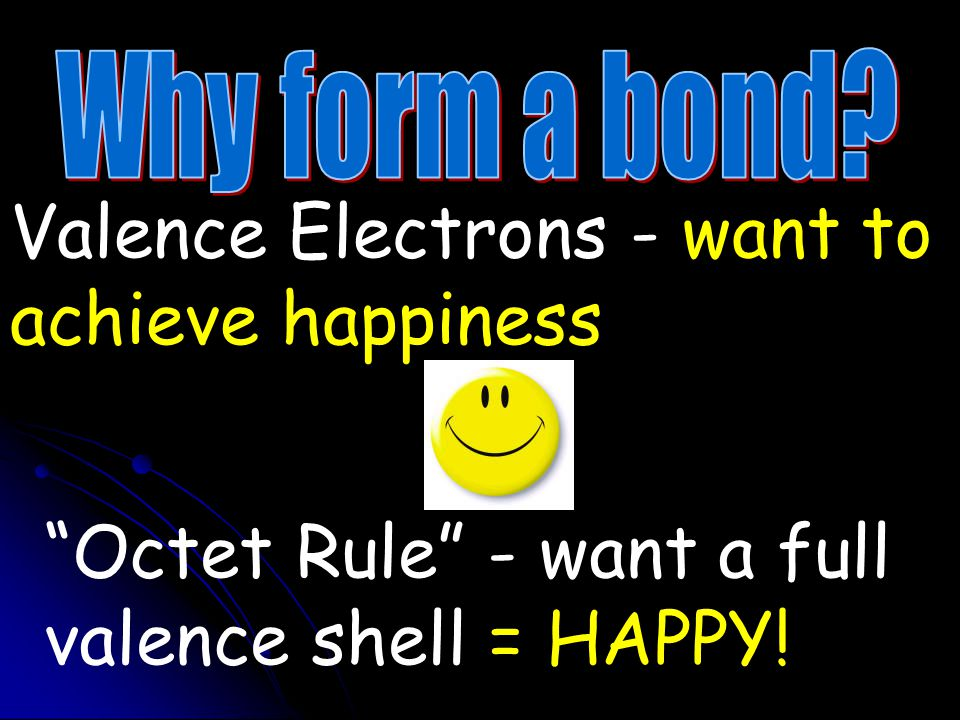 Valence Electrons - want to achieve happiness