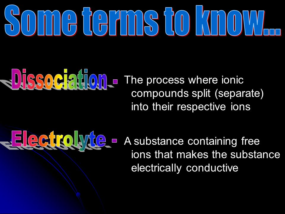 Some terms to know... Dissociation - Electrolyte -