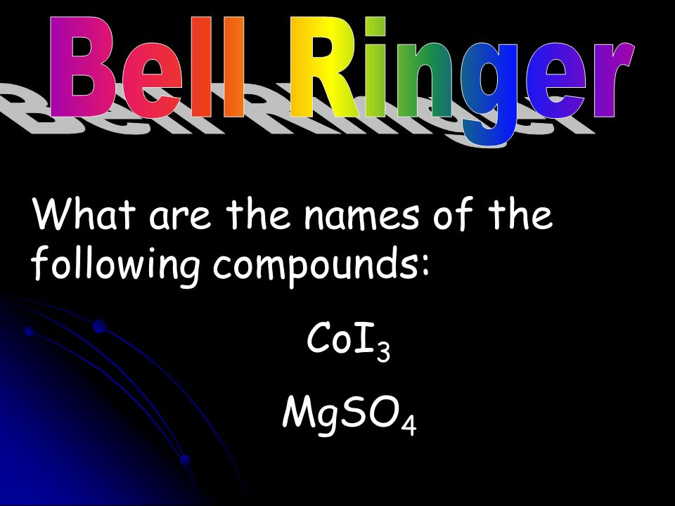 What are the names of the following compounds: CoI3 MgSO4