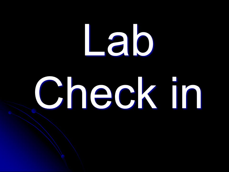 Lab Check in