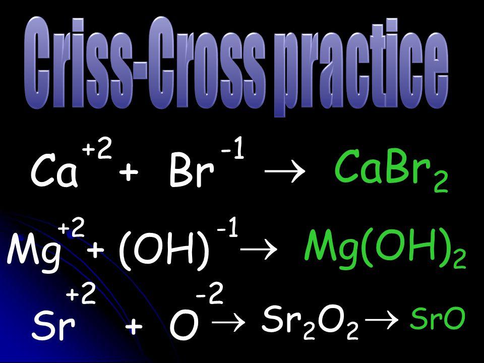 +2 -1  CaBr2 Ca + Br +2 -2 +2 -1 Mg + (OH)  Mg(OH)2 Sr + O  Sr2O2
