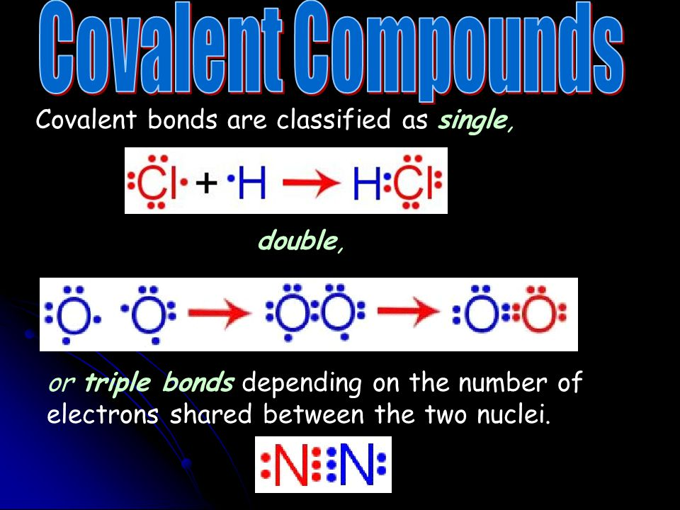 Covalent Compounds Covalent bonds are classified as single, double,