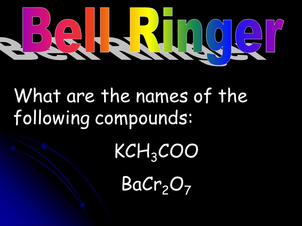 What are the names of the following compounds: KCH3COO BaCr2O7