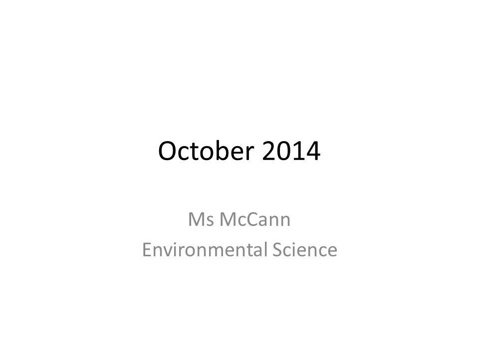 Ms McCann Environmental Science